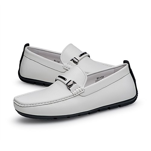 ZRO Men's Casual Fashion Driving Loafers Flats Boat shoes White US 9.5 by ZRO (Image #6)