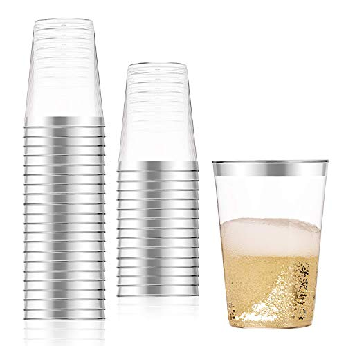 100 Count 10oz Disposable Clear Cup-Silver Trim Cup/Old Fashioned Tumblers/Plastic Wedding Cups/Fancy Party Cups