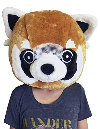 CLEVER IDIOTS INC Animal Head Mask - Plush Costume for Halloween Parties & Cosplay (Red -