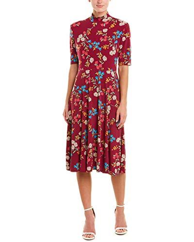 Donna Morgan Women's 3/4 Sleeve Mock Neck Floral Matte Jersey Dress, Black/Burgundy Multi, 2
