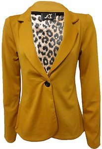 Xclusive Collection Womens Mustard Single Button Leopard Lined ...