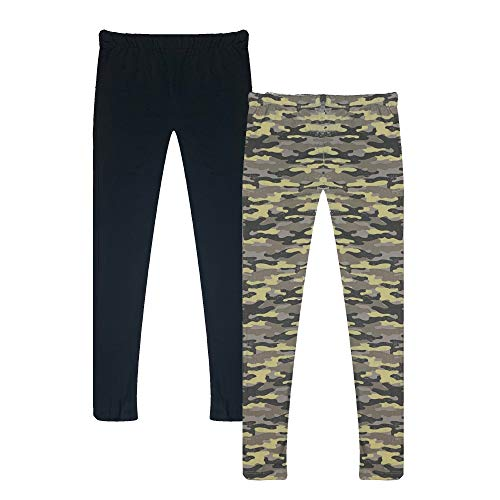 Popular Girl's Solid and Print Active Leggings - 2 Pack - Camo and Solid Black - 8/10