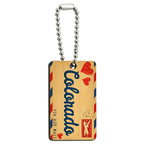 Graphics and More Air Mail Postcard Love for Colorado Wood Wooden Rectangle Key Chain
