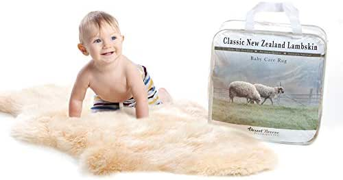 """New Zealand Classic Lambskin, Ethically Sourced, Silky Soft Natural Length Wool, Un-Shorn Baby Care Rug, Premium Quality, Medium Size 32"""" to 34"""""""