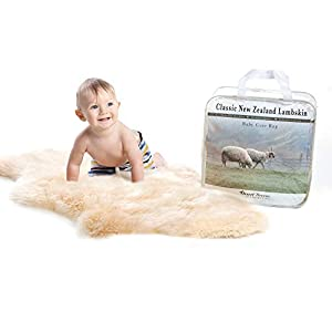 New Zealand Classic Lambskin, Ethically Sourced, Silky Soft Natural Length Wool, Un-Shorn Baby Care Rug, Premium Quality, XL Size 37+ inches in Length