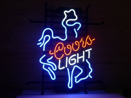 Coors Light Neon Sign - New Larger Coors Light Cowboy Neon Light Sign 20''x16'' L10(No More Long Waiting for WEEKS/MONTHS with Fast Shipping From CA With FREE USPS Priority Mail)
