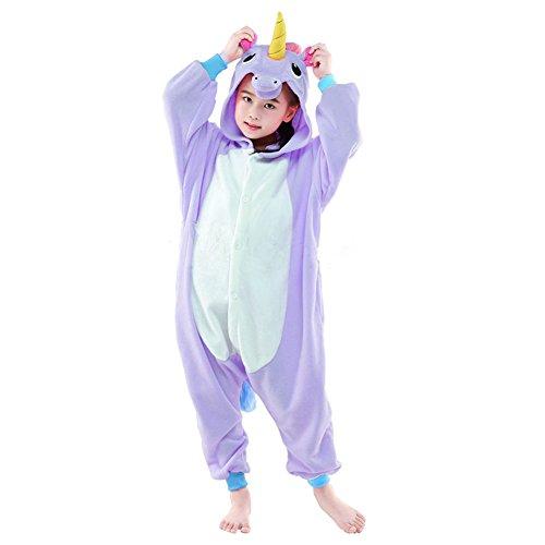 SWEETXIN Halloween Children Unisex One Piece Animal Sleeping Wear Cosplay Costumes (4-height 38-40, Purple Pegasus (Home Goods Halloween Costumes)