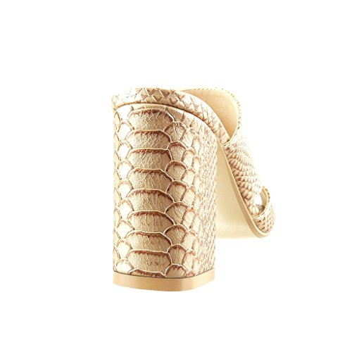 Angkorly - Zapatillas de Moda Mules Sandalias mujer piel de serpiente cocodrilo Talón Tacón ancho alto 9 CM - Oro