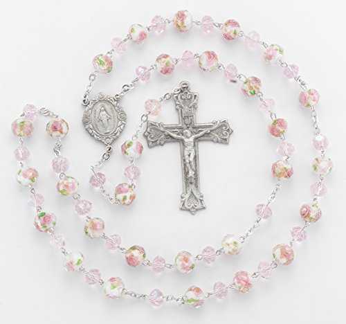 ((5 7/18) BERTOF BT-PR-110 Pewter Rosary White/Pink Glass Flower Beads Beads WITH 100% Pewter Center and Crucifix Hand Made USA Copyrighted Paul Herbert Blessing PEWTARA Series)