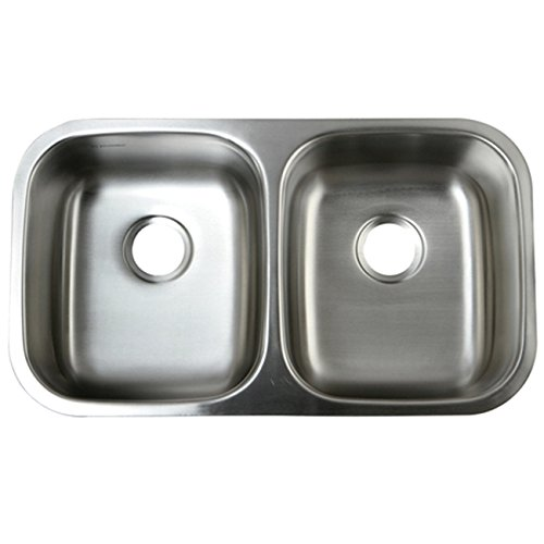 Kingston Brass Gourmetier GKUD3118 Undermount Double Bowl Kitchen Sink 31-1/4-Inch-Length  by 18-Inch-Width by 9-Inch-Depth, 18 Gauge, Brushed Stainless Steel