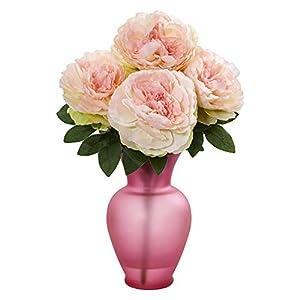 Nearly Natural 1803-PK Peony Artificial Rose Garden Vase Silk Arrangements Pink 110
