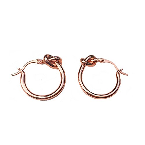 Love Knot Earrings for Women Round Circular Huggie Hoop Tube Dangle Drop Minimalist Jewelry (Rosegold)