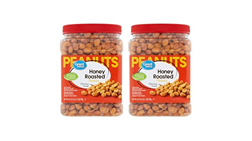 Great Value Honey Roasted Peanuts,(2-Jars of 34.5 oz)