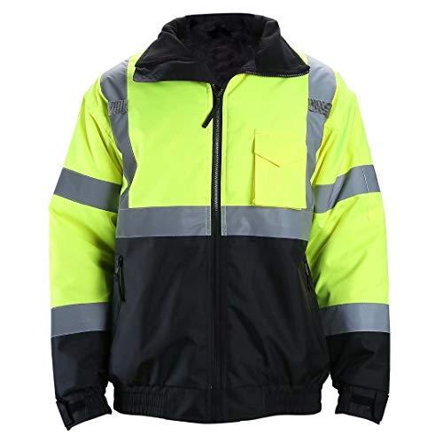 Fonirra High Visibility Workwear Safety Bomber Jacket Two Tone Reflective Strips Waterproof Winter Coat,Yellow&Black,ANSI/IESA 107-2015 Class 3,4XL ()