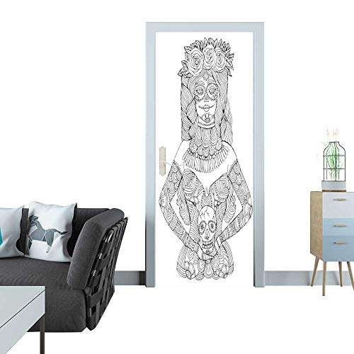 Anmaseven Glass Door Sticker Decals Girl with Calavera Makeup Holding Sugar Skull Halloween Coloring page1 Door Sticker Mural 27x59(69x150 -