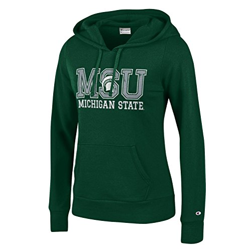 Champion NCAA Women's Comfy Fitted Sweatshirt University Fleece Hoodie Michigan State Spartans X-Large