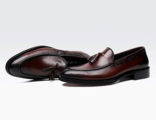 HWF Scarpe Uomo in Pelle Scarpe da uomo in pelle Scarpe fatte a mano Business Formal Wear Nappa Scarpe da sposa a punta stile britannico (Colore : Nero, dimensioni : EU 41/UK7) Marrone