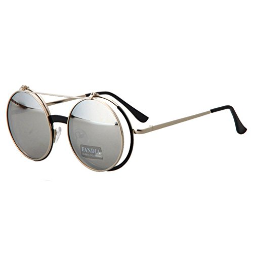 KaiSasi Flip Retro Glasses Sunglasses Ms Men Metal Punk Rock - Rock Little Eyeglasses