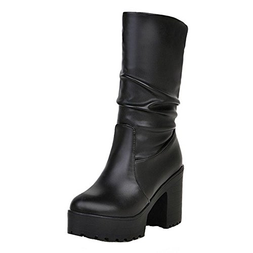Chunky On Women Pull Black COOLCEPT Boots Sole ZwIa76qqHW