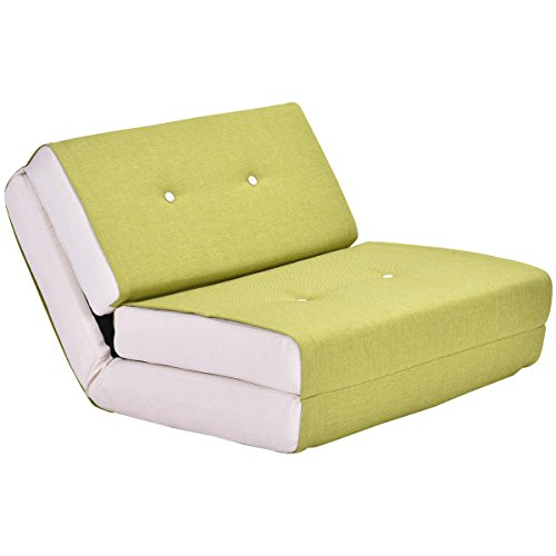 Giantex Fold Down Chair Flip Out Lounger Convertible Sleeper Bed Couch Dorm (Green)