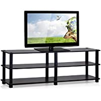Furinno TV Stand, TV Console Table, Dark Cherry/Black