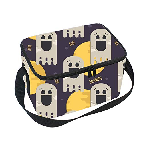 Halloween Funny Ghost Kids Adults Insulated School Travel Outdoor Thermal Waterproof Carrying Lunch Tote Bag Cooler Box Lunchbox Container Case ()