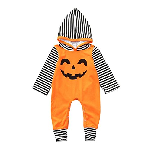 GoodLock Baby Girls Fashion Ropmers Toddler Infant Hooded Romper Jumpsuit Halloween Costume Outfits (Orange, 12 Months) -