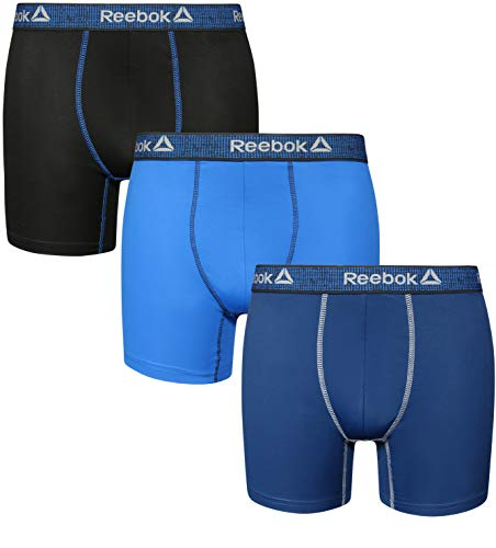 Reebok Men\'s 3 Pack Lightweight Performance Boxer Briefs, Black/Blue/Navy, Small'
