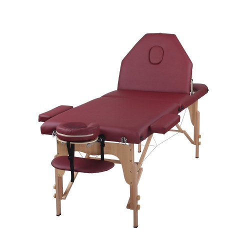 The Best Massage Table 3 Fold Burgundy Reiki Portable Massage Table – PU Leather High Quality