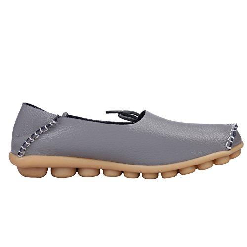 Cuir De Vachette Pour Femme Lacets Décontractés Mocassins Mocassins Chaussures Plates Fluorescence Gris