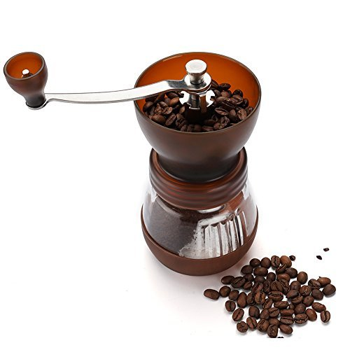 Manual Coffee Grinder with Conical Ceramic Burr - Because Hand Ground Coffee Beans Taste Best, Infinitely Adjustable Grind, Glass Jar, Stainless Steel Built To Last, Quiet and Portable (Coffee)