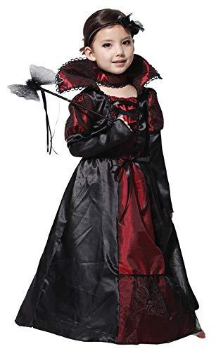Better-Life Disfraz Vampiro Chica Disfraz Condesa Gótica Dama Halloween Cosplay Teatro Fiesta Niño (4-6 años)