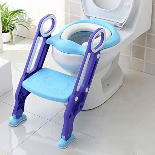 ZYFXZ Potty Training WC-Sitz, Kinder Baby-Kleinkind-Toiletten-Trainings-Sitzstuhl, Leiter faltbare Toilette Trainingsplatzsparend, Anti-Rutsch, Sturdy (bis 75kg) Geeignet for 1-7 Kinder Platzsparend /