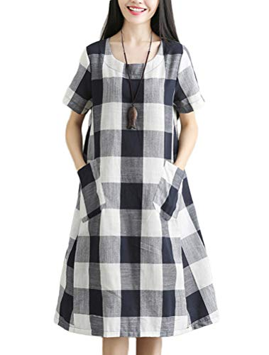 Mordenmiss Womens Cotton Linen Dress Large Checked Plaid Shirt Dress with Pockets