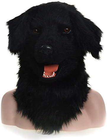 IENPAJNEPQN Máscara de Cabeza de Perro Negro Peludo, Boca móvil, mascarilla de Carnaval Fiesta Animal (Color : Black)