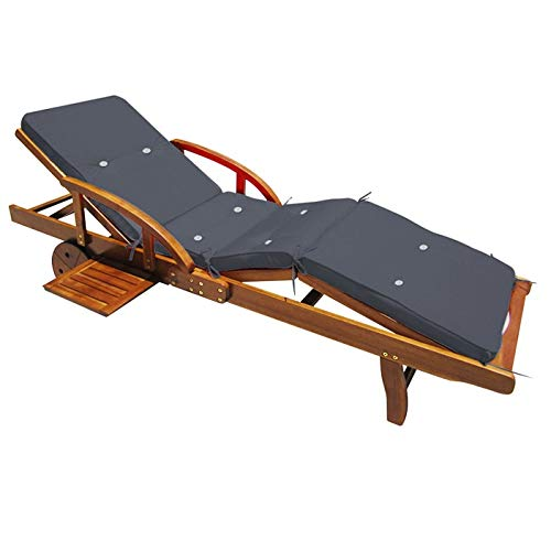 Wooden Sun Lounger Tami Sun With Cushion Foldable Deck Chair Day Bed Outdoor Patio Solid Hardwood