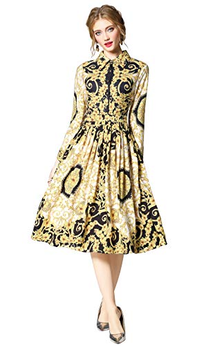 up Women's Floral A Casual Dress Print Party Swing 3 4 Midi Style 12 line Button Sleeve tHYxwrHgq