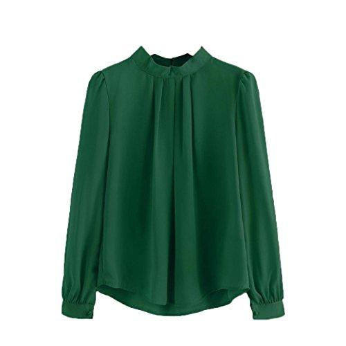 Han Shi Chiffon Blouse, Women Fashion Fold Loose Casual Party Long Sleeve Shirt Tops (M=(US S), Green)