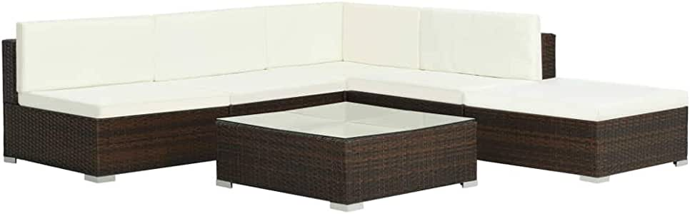 Wakects Set Muebles de jardín 6 Piezas y Cojines ratán sintético marrón,Sofa de Esquina Exterior para Jardín Terraza Patio,Cojines Extraíbles: Amazon.es: Hogar