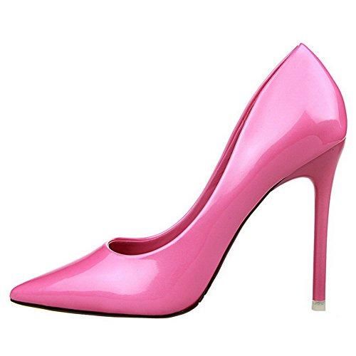 Allhqfashion Femmes En Cuir Verni Pull-on Fermé Chaussures À Talons Hauts Chaussures-chaussures Rosered