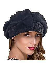Ruphedy Women Wool Beret Knit French Beret Cute Beanie Winter Hat Hy022