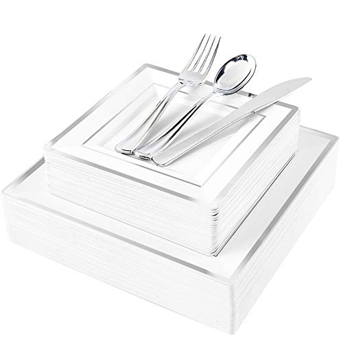 WDF 125pcs Silver Plastic Plates with Disposable Plastic Silverware-Silver Rim Square Plastic Dinnerware include 25 Dinner Plates,25 Salad Plates,25 Forks, 25 Knives, 25 Spoons -