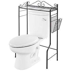 Space Saver Design Metal Storage Organizer Rack/Freestanding Bathroom Shelf w/Magazine Basket
