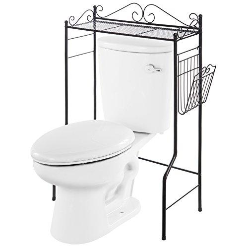 (Space Saver Design Metal Storage Organizer Rack/Freestanding Bathroom Shelf w/Magazine Basket, Black)