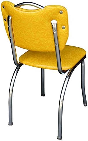 Richardson Seating Handle Back Diner Chair with 1 Pulled Seat Cracked Ice Yellow