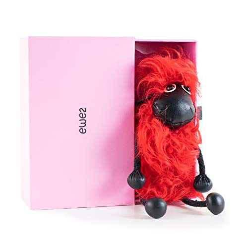 Key Chain for Women + BOX - Real Fur Bag Charm with Heavy Duty Keychain Holder in Amazing Gift Box- by EWE2 - Red