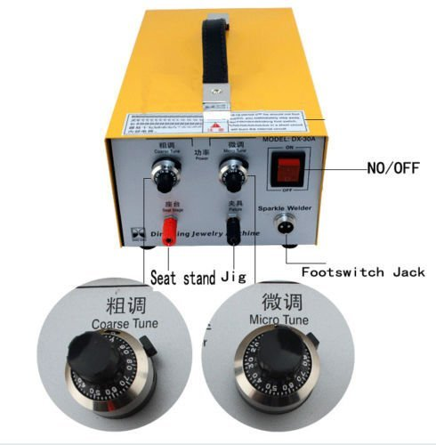 T-king(TM) 2in1 Pulse Sparkle Spot Welder Gold Silver Platinum Jewelry Welding Machine 30A 110V