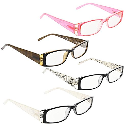 READING GLASSES 4 Pack Gem Pattern Arms Readers for Women +1.00 ()