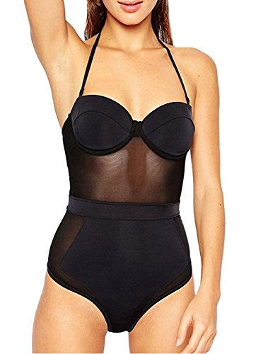 Tengweng Womens Sexy Push Up Mesh One Piece Swimsuit Monokini Bikini High Waisted XL Black