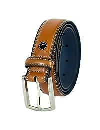 Nautica Cinturón para hombre con hebilla de vestido y costura cómoda